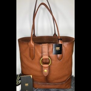 FRYE COGNAC LEATHER TOTE NEW